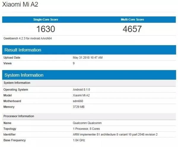 小米A2跑分曝光:基于小米6X 原生Android系统