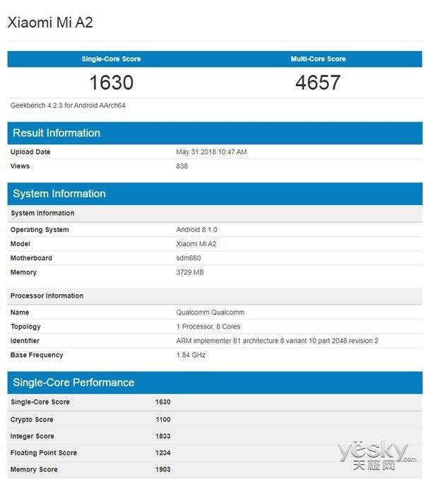 小米A2现身GeekBench平台:搭载骁龙660,原生安卓8.1系统