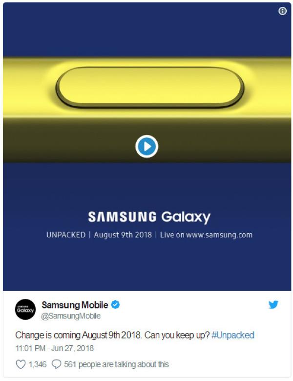 三星Galaxy Note 9确认8月9日发布 金色手写笔亮了
