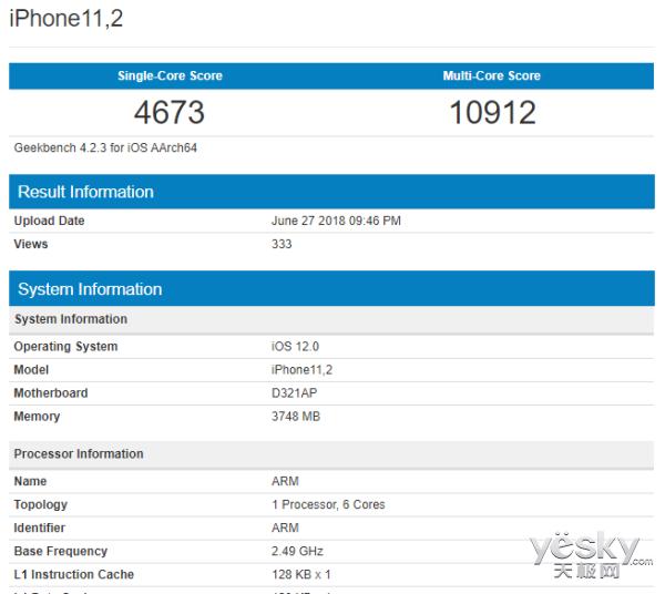 新iPhone现身跑分网站:搭载4GB运存