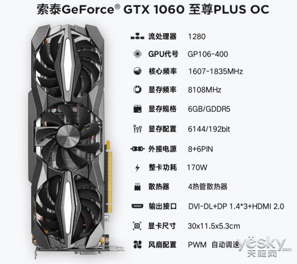 要的就是便捷 索泰GTX1060-6GD5至尊PLUS OC显卡持续热销