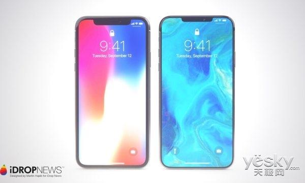 苹果新iPhone高清渲染图流出,前刘海略有改变,双卡双待确定