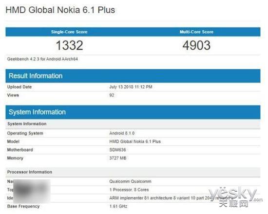 诺基亚6.1 Plus跑分曝光:单核1332分,X6海外版无疑
