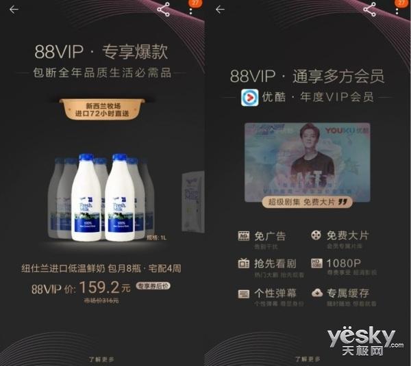 淘宝88VIP卡上线:享受优酷、饿了么、淘票票VIP年卡