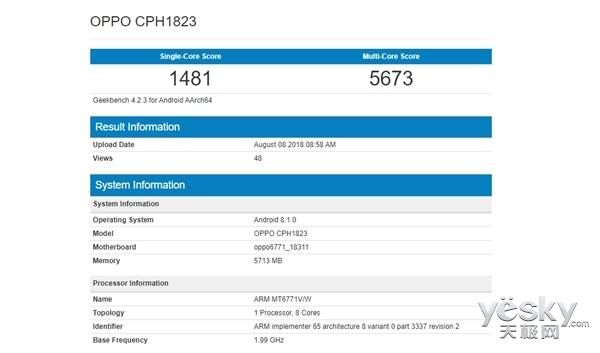 OPPO F9现身跑分网站:联发科P60芯片+6GB RAM