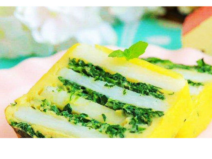 �O客美食:香甜�糯―�蒸�版山�菠菜�u蛋糕
