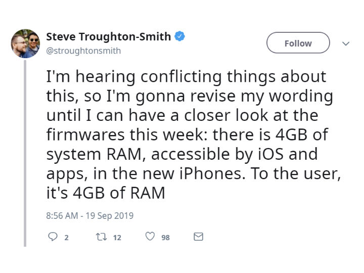 iFixit拆解确认iPhone 11系列标配4GB内存