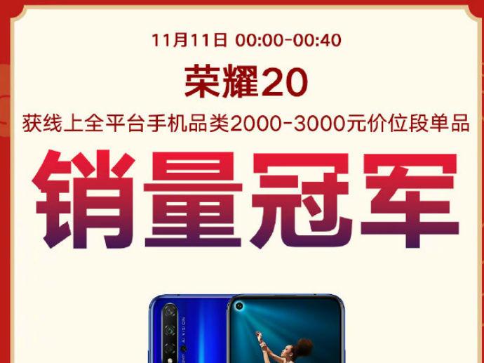 荣耀20双11持续热销获多平台单品销量冠军