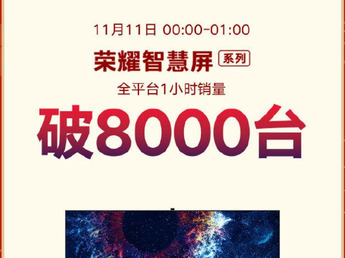 荣耀智慧屏双11一小时销量破8000台