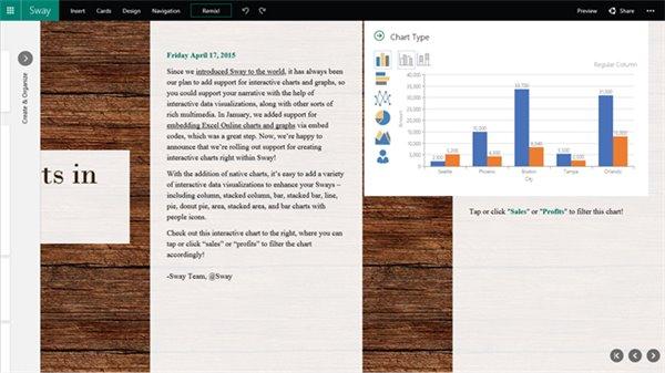 Office Sway更新:可创建交互式图表